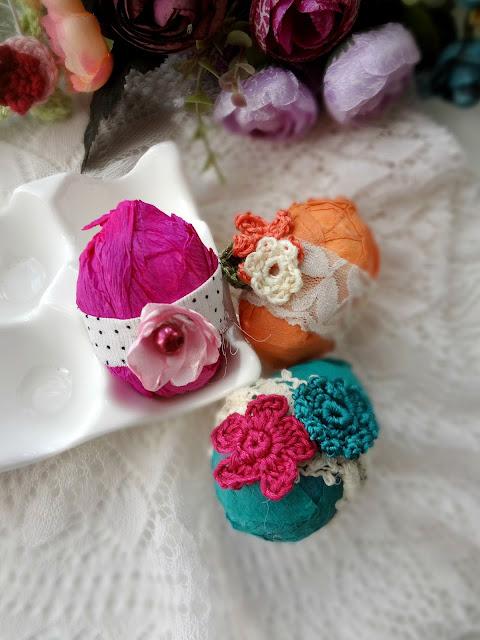 Romantic Crepe Easter Eggs DIY