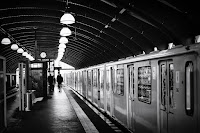 subway station Berlin Bernauer Strasse street photography black white