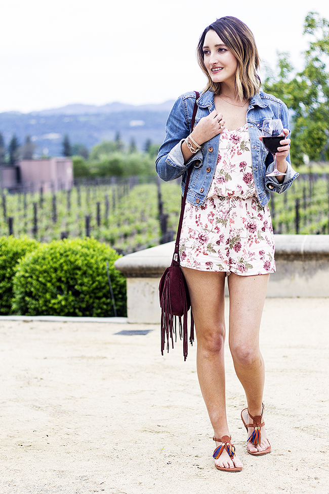 Forever21 Floral Romper Under $10; H&M Denim Jacket, JustFab Sandals