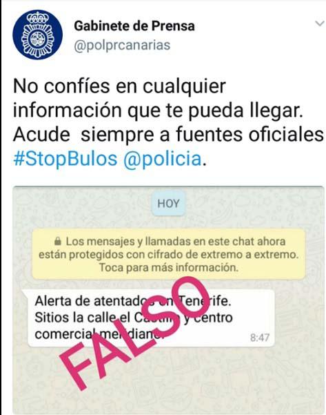 Alerta atentados en Tenerife, bulo, falso