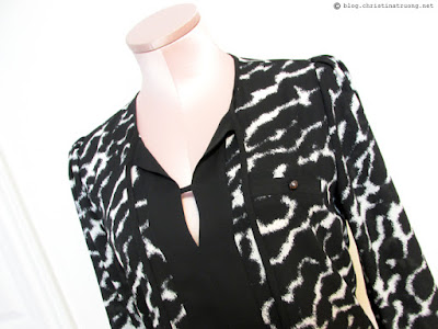 Wearing white after Labour Labor Day fashion outfit trend style rw&co animal print crepe blouse with front tie