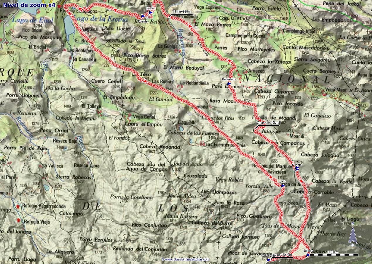 Ruta Lago Ercina, Jultayu, Cuvicente: Mapa de la ruta