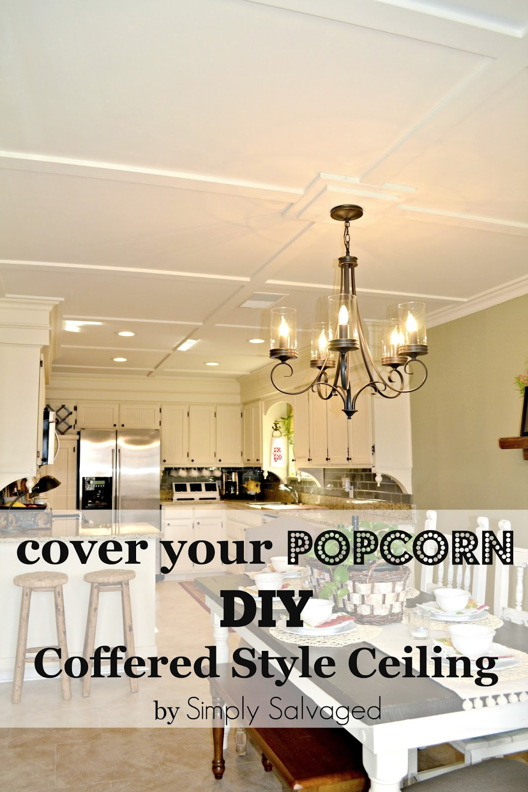 Simply Salvaged: Cover Your Popcorn with a DIY Coffered Style Ceiling