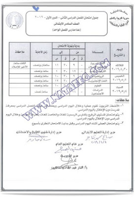 جداول امتحانات اخر العام محافظة المنوفية 2019