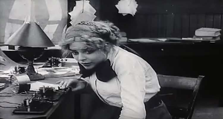 Blanche Sweet defends her place against invaders in D.W. Griffith's The Lonedale Operator.