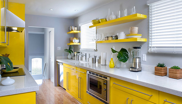 Add A Burst Of Yellow Give Your Kitchen Face Lift By Painting Cabinets And Drawers In