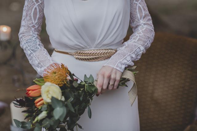 vestido de novia color nude - editorial boda de invierno