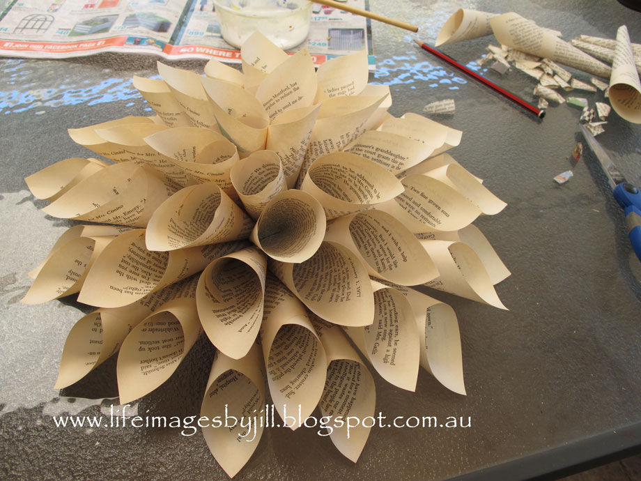 Life images by jill how to make a simple paper flower at the same time i made paper flowers some were made out of old book pages and some from craft paper so easy would you like to give it a go mightylinksfo