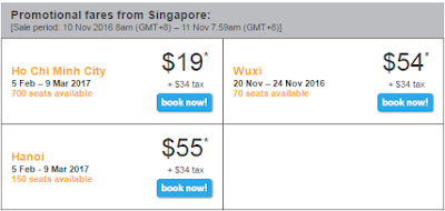 giá vé khuyến mãi Tiger Air bay từ Singapore