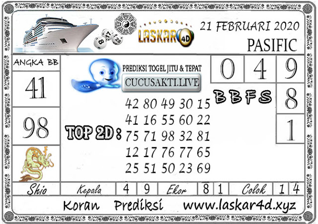 Prediksi Togel PASIFIC LASKAR4D 21 FEBRUARI 2020