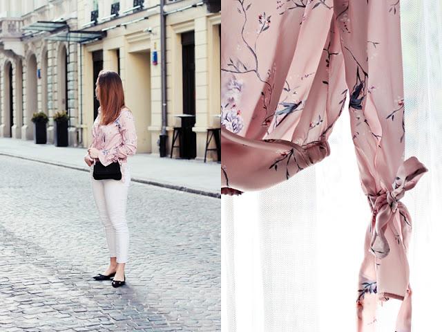 Różowa koszula w wiosenny wzór
