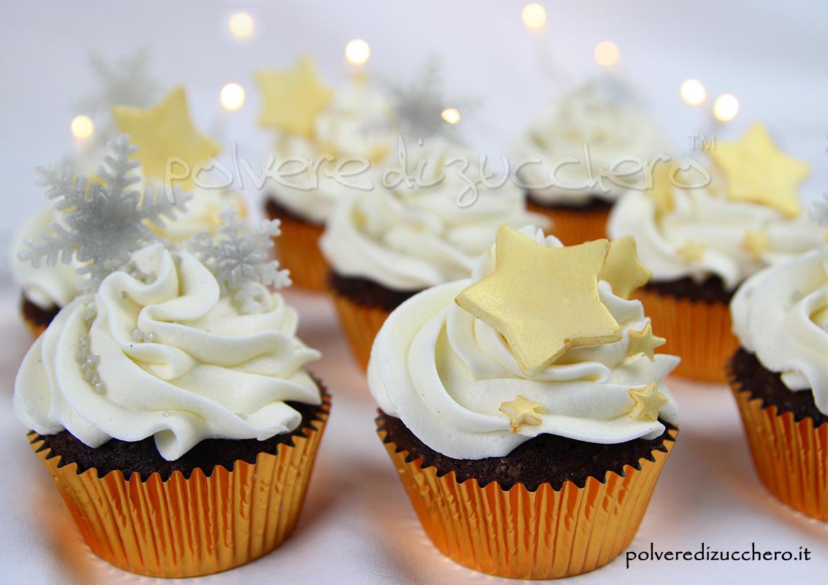 cake design cupcake compleanno cioccolato vaniglia inverno stelle fiocchi di neve polvere di zucchero