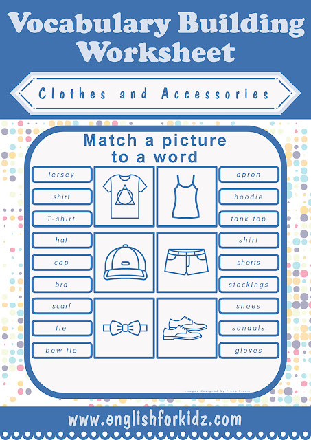 Printable ESL clothes worksheet