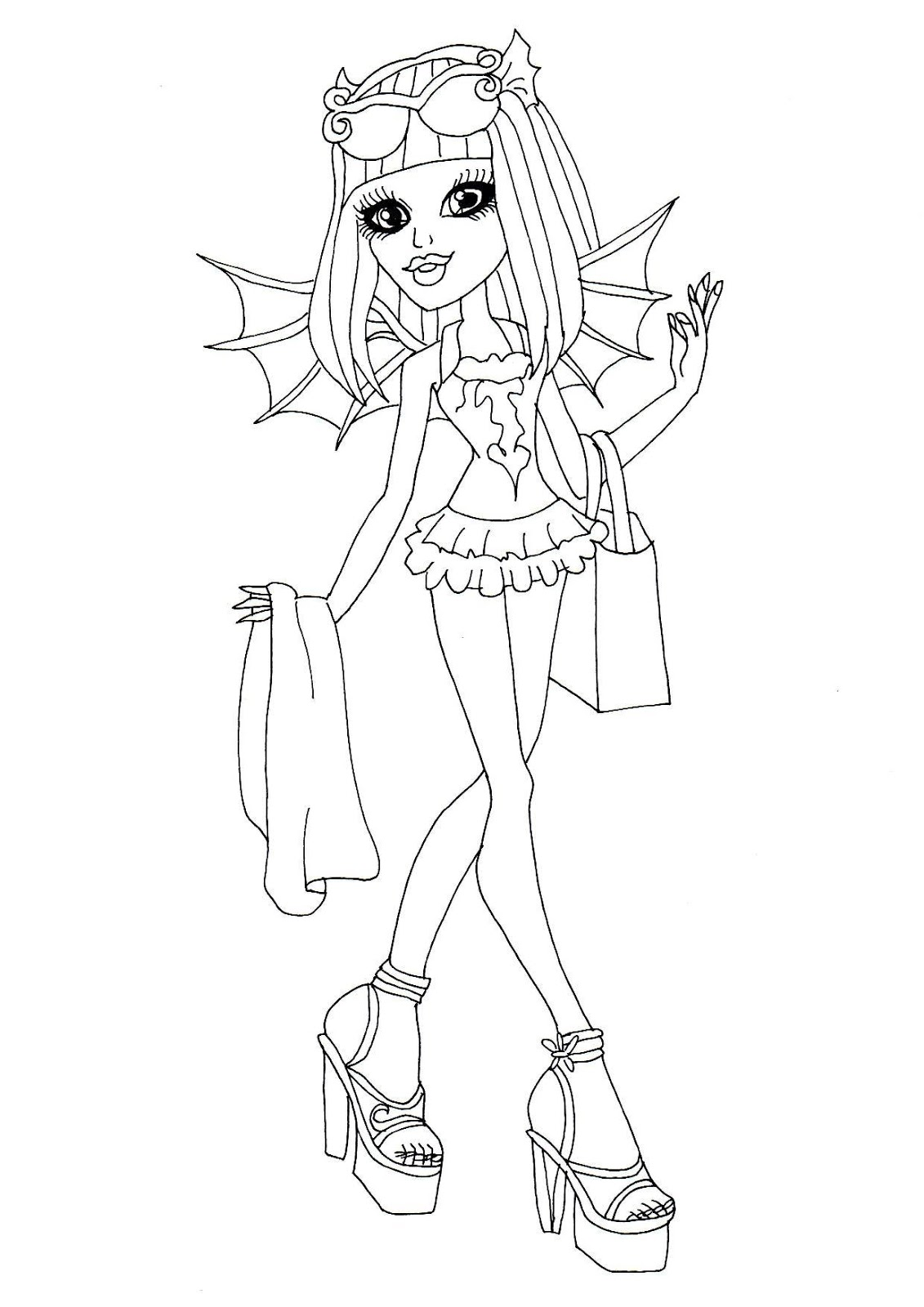 Monster High Cat Coloring Page Monster High Rochelle Coloring