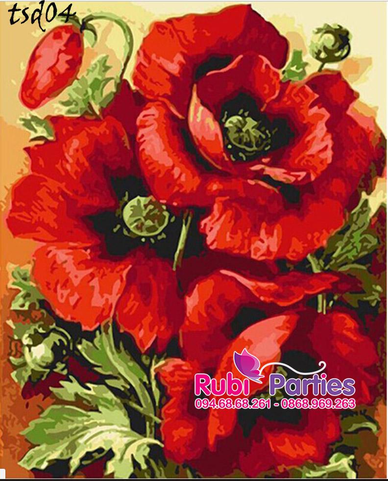 Mau tranh son dau so hoa hoa mau don