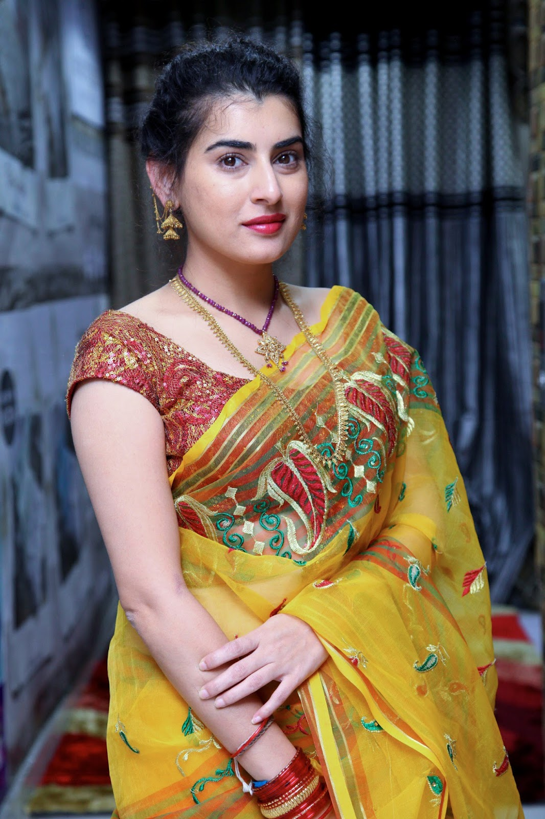 archana veda amazingly so beautiful in yellow saree during ankit studio launch