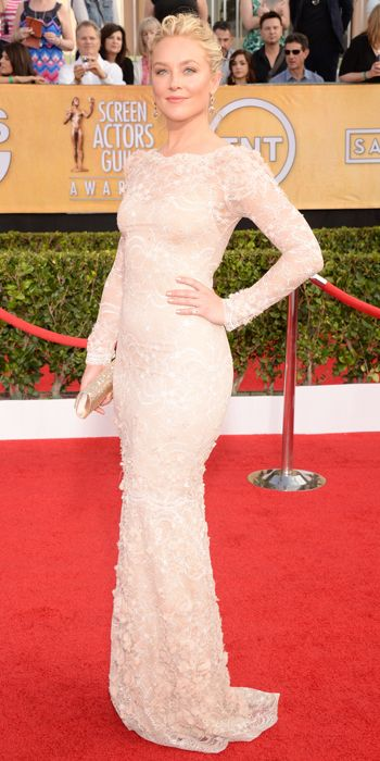 Elisabeth Rohm in a stunning blush lace Marchesa column gown at the SAG Awards 2014