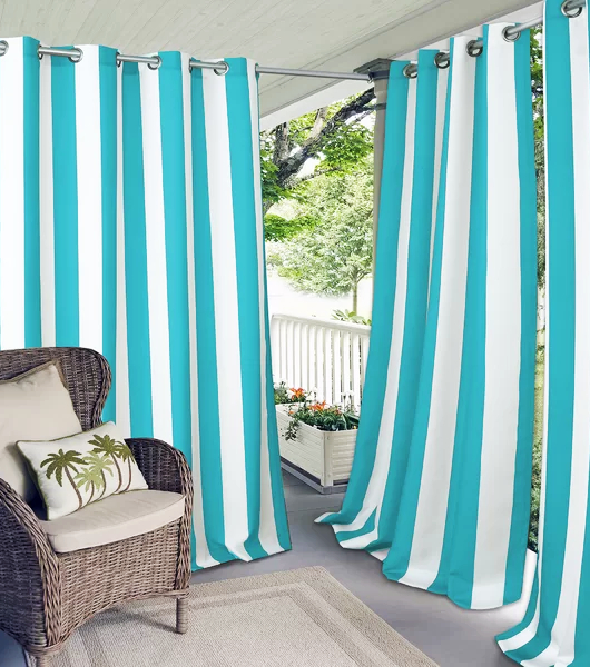 Cabana Striped Outdoor Privacy Curtain Panels