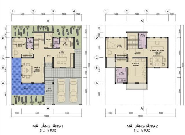 Mặt bằng tầng 1, 2 biệt thự đơn lập Foresa Villa