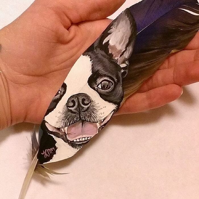 08-Boston-Terrier-on-a-hyacinth-macaw-feather-Krystle-Missildine-Painting-Realistic-Animals-on-Delicate-Feathers-www-designstack-co