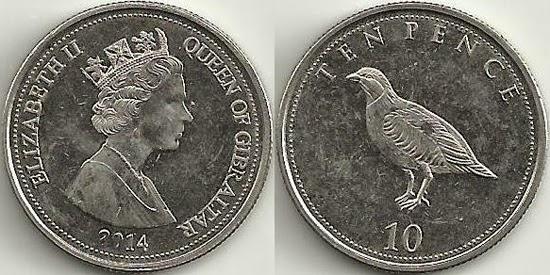 World Coin News Gibraltar 10 Pence 2014 Barbary Partridge