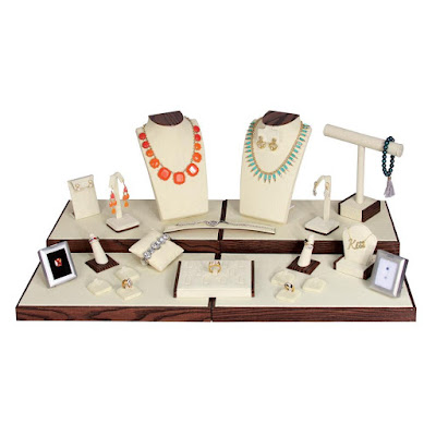 Shop Nile Corp Wholesale Combination Jewerly Display Set in Linen Beige with Wood Grain Trim