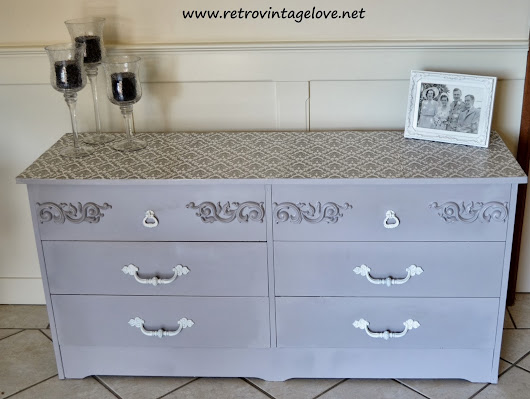 Vintage Shabby Chic French Grey Buffet / Chest of Drawers with a Decoupage Top