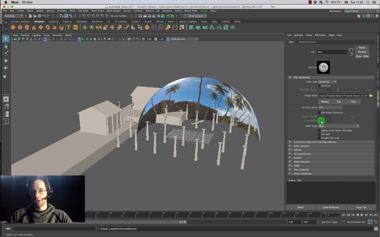 lighting for exterior scene in arnold cg tutorial