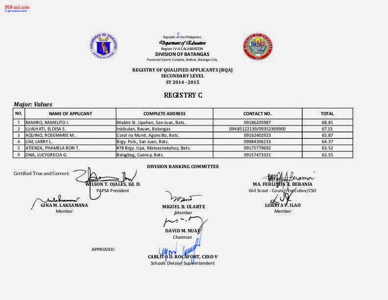 DepEd Memos, Orders & Results: May 2014