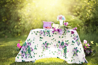 summer picnic table with full dressing for party