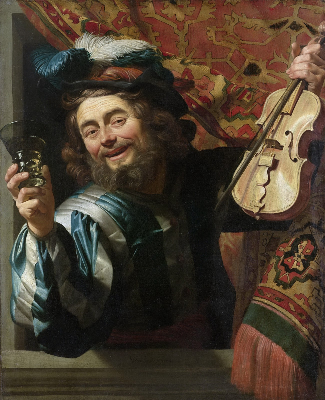 Gerrit van Honthorst A heerful violin player