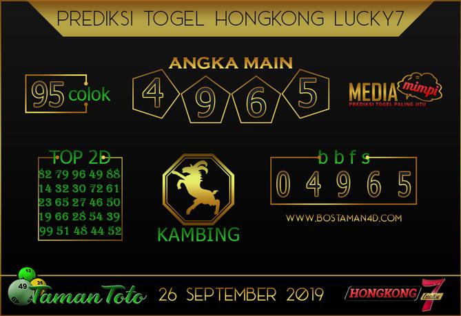 Prediksi Togel HONGKONG LUCKY 7 TAMAN TOTO 26 SEPTEMBER 2019