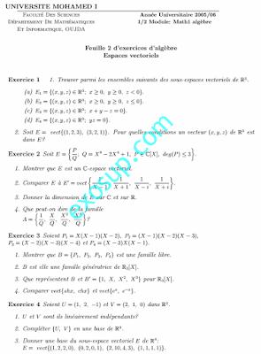 Exercices d'algèbre 1 SMPC Espaces vectoriels fso