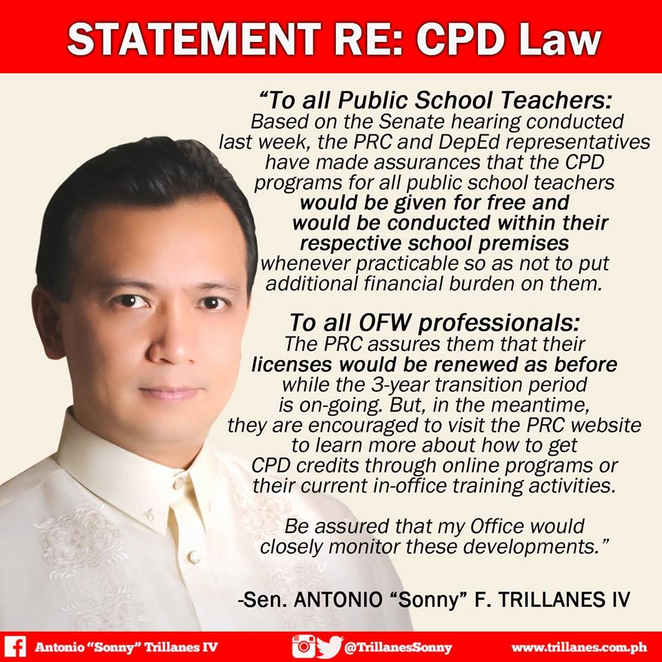 Senator Trillanes' update on CPD implementation teacher