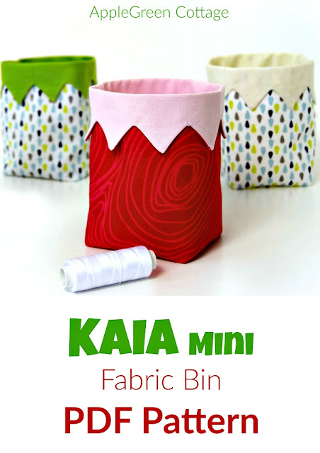 A PDF sewing pattern and an easy beginner sewing project. It's a cute little handy DIY fabric bin, an easy and quick sew. And a great scrap buster. Makes an excellent handmade present!