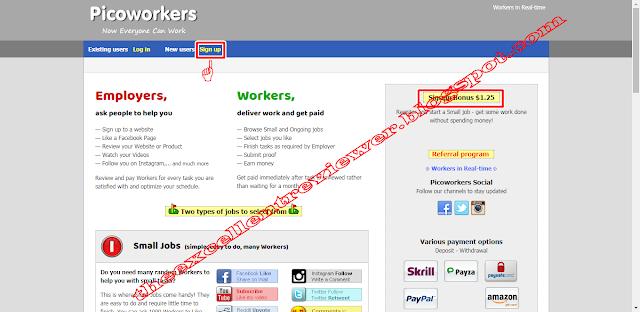 Đăng ký (đăng ký) trên Picoworkers và kiếm tiền thưởng $ 1,25