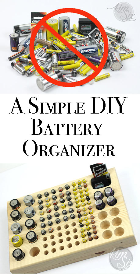 Throwing your batteries in a drawer is a HUGE fire hazard! Plus they can leak acid.  Build this simple wooden organizer out of some stock lumber and never lose track of how many batteries you have on hand!