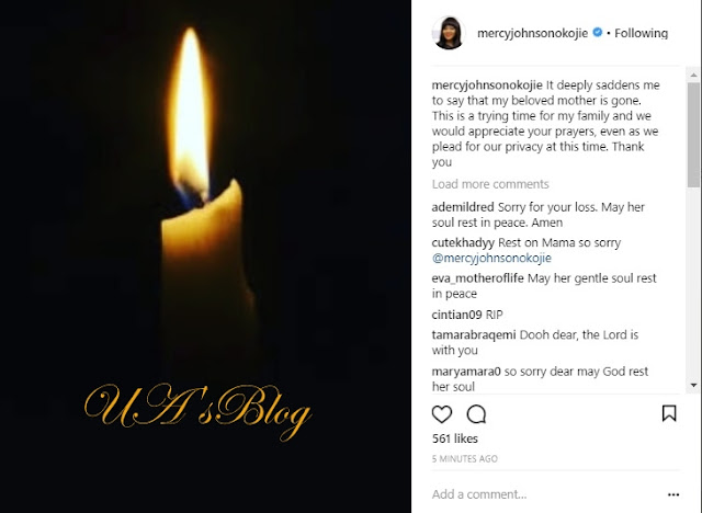 Oh No! Actress Mercy Johnson's Beloved Mother Is Dead