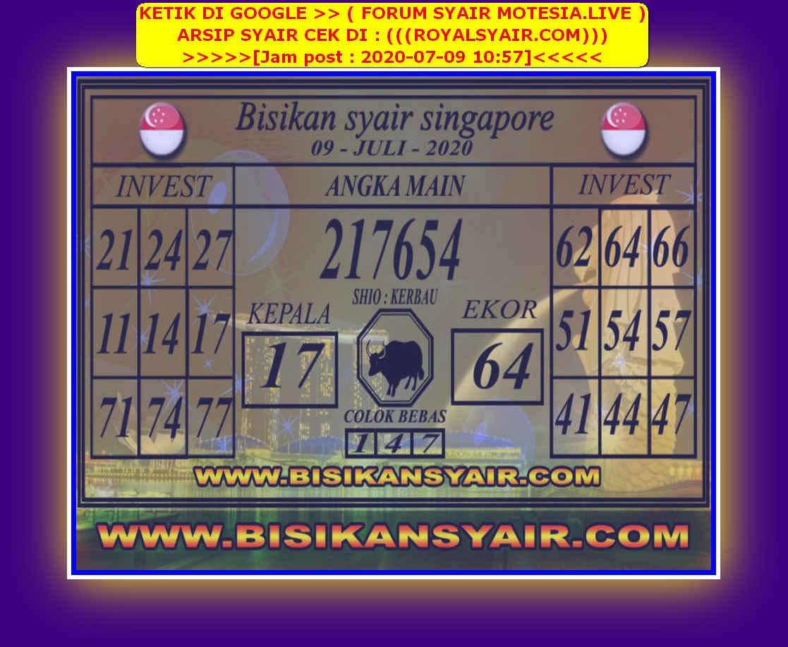 Kode syair Singapore Kamis 9 Juli 2020 90