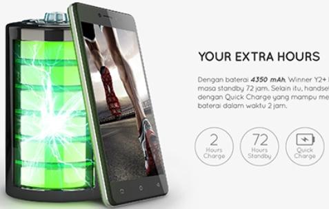 Evercoss Winner Y2+ Power, Spesifikasi,  Harga 1 Juta, Winner Y2+ Power Tawarkan Baterai 4350 mAh!