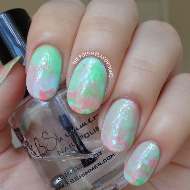 Summer Sorbet Inspired Stamping Marble Nail Art