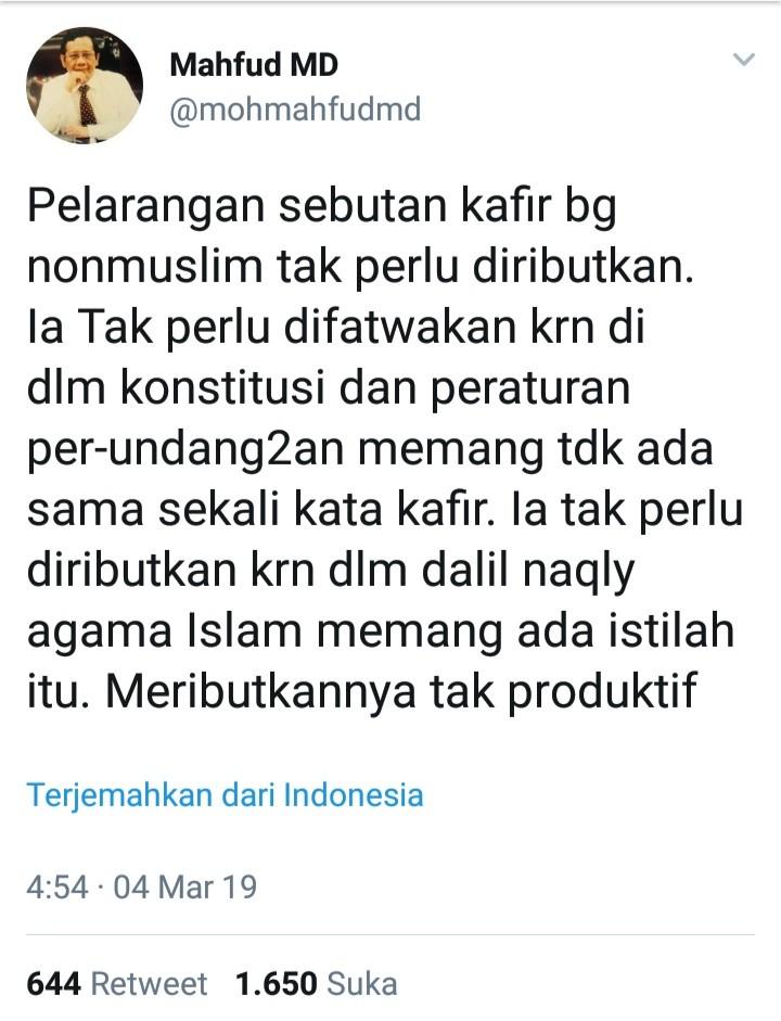 Ganti Kafir dengan Non Muslim, Penjelasan Cerdas Mahfud MD Dikritisi Netizen