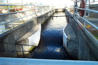 Parshall flume at a water treatment facility