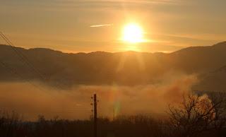 Golden sunrise on the Greenhouse smoke