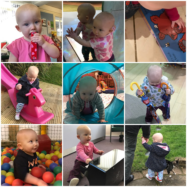 A collage of 9 photographs showing a baby playing instruments, standing, feeling textures in a book, on a rocking horse, crawling through and tunnel and in a ball pool