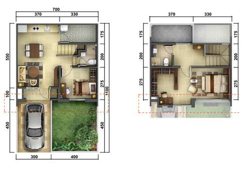 Denah minimalis ukuran 7x11 meter 2 kamar tidur 2 lantai