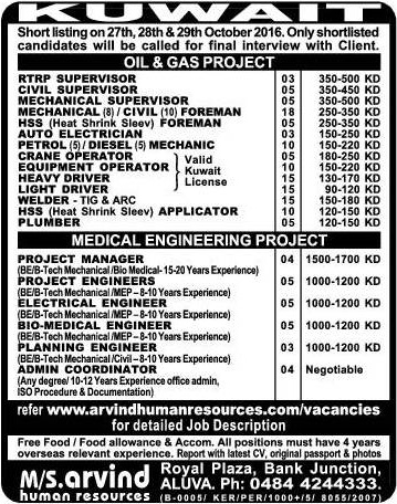 Oil and Gas Kuwait project jobs