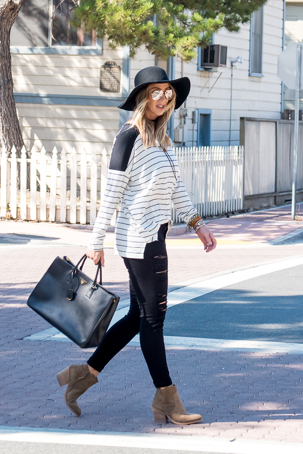 black and cream striped top for fall