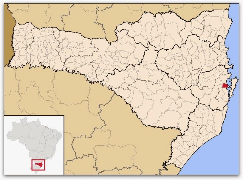 Cidade de São José, no mapa de Santa Catarina