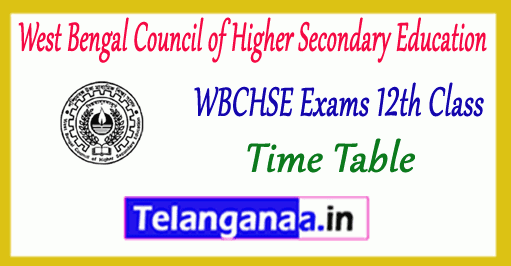 West Bengal Council of Higher Secondary 12th Education Exam Time Table